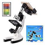 単眼生物顕微鏡100X-1200X Chanseon 学生用単眼顕微鏡 スマホ撮影セット メタルスタンド コンパクト携帯型 生物標本観察 子供 マイクロスコープ (40点以上セット)