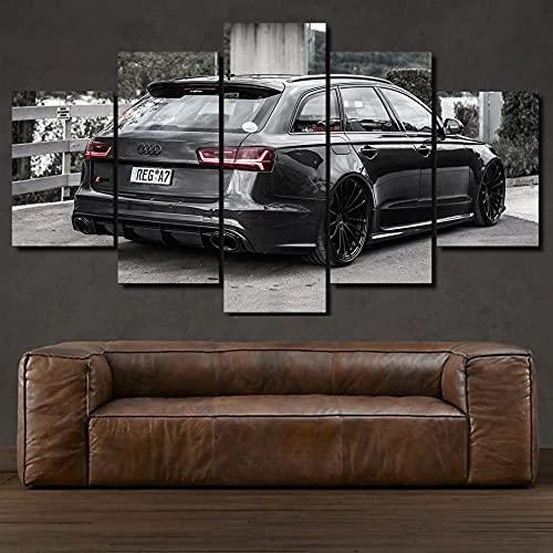 KOPASD RS6 MTM Black Super Sports Car 5 Panel Lámina del Paisaje del Arte impresión en Lona Cuadros de la Pared de la Foto,para el hogar decoración Moderna impresión