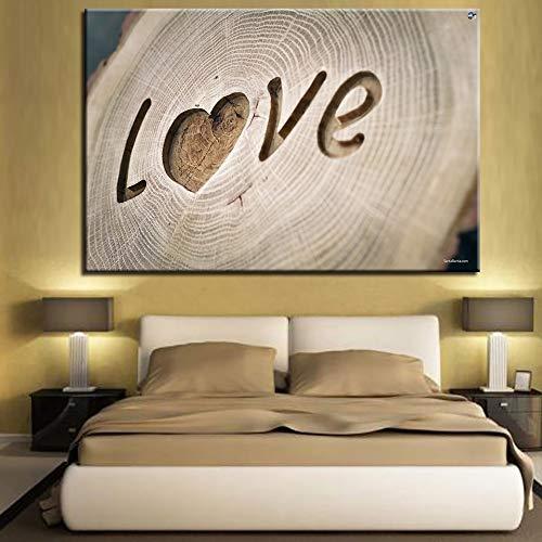 KWzEQ Imprimir en Lienzo Cartel de Letras de corazón romántico y decoración del hogar de la Sala de estar60x90cmPintura sin Marco