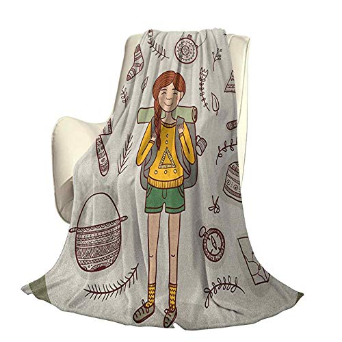 Explore Modern and stylish all-season bedspread futon Hiker Girl with a Backpack with Doodle Boho Ornate Native American Elements Four seasons light living room/bedroom warm blanket W91 x L60 Inch Mu