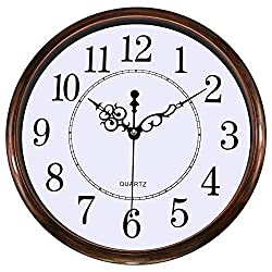 Lumuasky Retro Silent Non-Ticking Round Classic Clock - Quartz Decorative Battery Operated Wall Clock for Living Room Kitchen Home Office (Bronze)