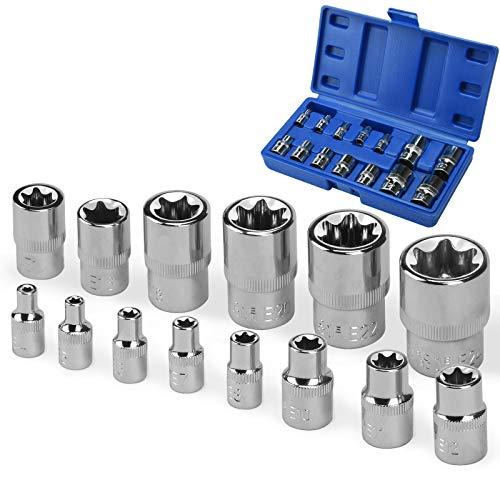 oumuik Juego de 14 zócalos Torx hembra E Star E4-E24 en carril 1/4 '1/2' 3/8' E-Type Sockets Insert Nut