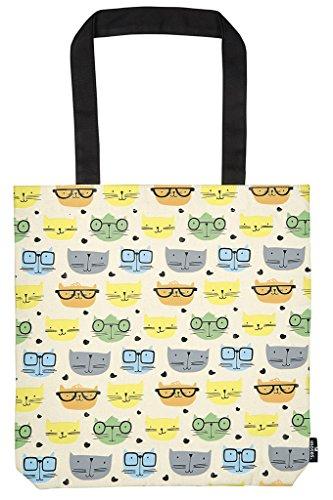 moses. libri_x Shopper Katzen | Tragetasche 100% Baumwolle | Natur