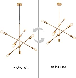 Mid-Century Modern Pendant Cluster lamp Brass Ceiling Lighting Hanging bar Suspension line Dual Purpose Lamps