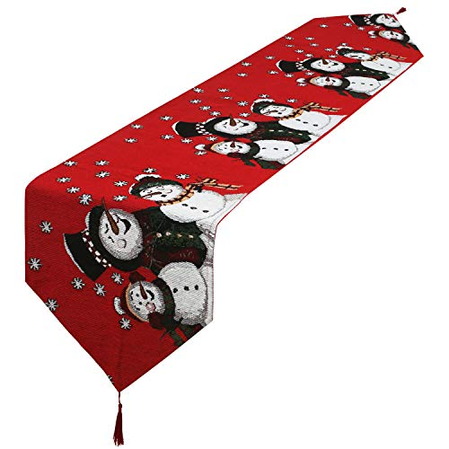 Decorative Table Runner Linen Table Cloth with Tassels for Halloween Christmas Dinner Parties Supplies Home Decorations (Snowman)
