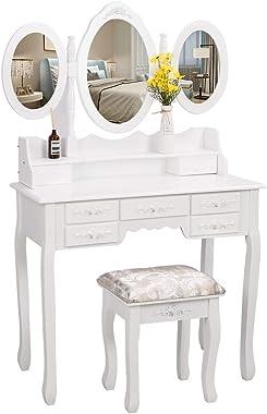 EUCO Coiffeuse Blanche,Coiffeuse avec 3 Miroir 7 tiroirs et Tabouret,Table de Maquillage en Bois,Coiffeuse Enfant/Femme,Meubl