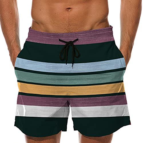 Pradle Men Swim Trunks Drawstring Waistband Board Short with Mesh Lining and Pockets (Multicolor Stripe, S)