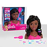 Barbie Fashionistas 8-Inch Styling Head, Dark Brown, 20 Pieces Include Styling Accessories, Hair Styling for Kids, by Just Play