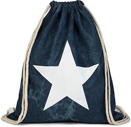 styleBREAKER Hipster Turnbeutel in Jeans Optik mit Stern Print im Washed Batik Style, Rucksack, Sportbeutel, Beutel, Unisex 02012171, Farbe:Dunkelblau