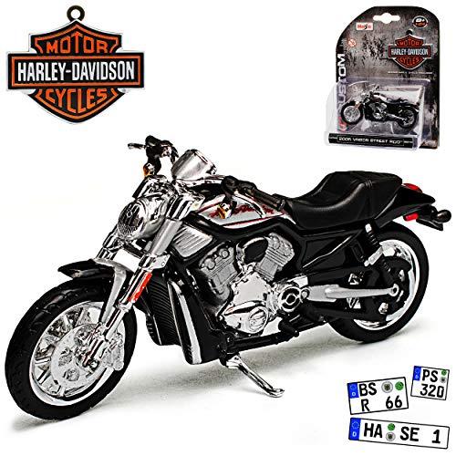 HarIey Davdson VRSCR Street Rod Schwarz 2006 1/24 Maisto Modell Motorrad mit individiuellem Wunschkennzeichen