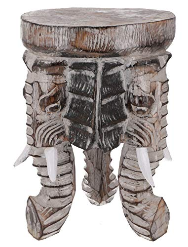 Guru-Shop Blumenhocker, Dreibeiniger Beistelltisch, Dekoobjekt Elefanten Kopf - Dunkel 30 cm, Beige, Dekoobjekte