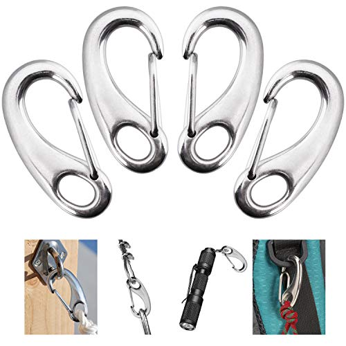 4 Pack Stainless Snap Hook, 220 lbs Spring Snap Hook Clip, 2 Inch Heavy Duty Marine Grade 304 Quick Link Carabiner for Attachment with Poles for Keychains, Curtains, Flags in Camping, Hiking, Hous…