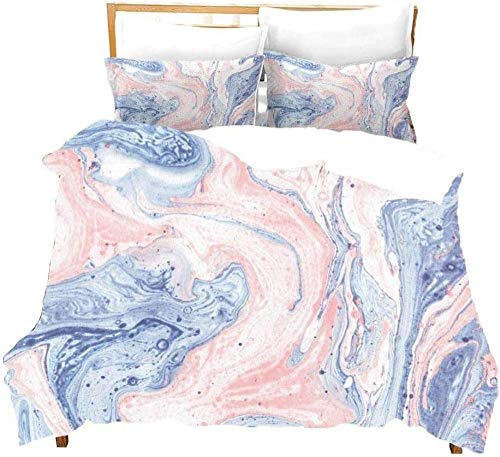 Rvvaceo Bedding Set Duvet Cover Set Microfiber Durable Fade Resistant Fabric-Include 1 Quilt Cover+2 Pillowcases-Soft Hypoallergenic, Easy Care-Single (135 X 200 Cm) Blue Pink Marble Liquid Texture A