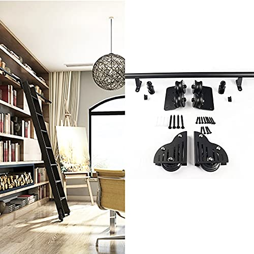 Juego completo riel escalera rodante de 3.3 pies a 20 pies(sin escalera)Kit riel extensión escalera móvil de tubo redondo para puerta corrediza granero para biblioteca/loft/hogar/interior/librería