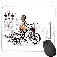 十代の部屋の装飾自転車フレンチディスプレイパリのストリートで大きなマウスパッドの若い女の子カスタムマウスパッド栗とライトブラウンパール