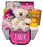 Cesta de regalo dulce para bebé, bebé y niña (rosa)