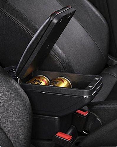 SZSS-CAR Leather Car Center Console Armrest Storage Box for Renault Clio 4/Renault Captur 2015 2016 2017 Armrests with Cup Holder(Black)