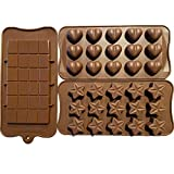 3 Pack of Chocolate Candy Molds - Heart Molds For Chocolate - Mini Chocolate Bar Mold - Candy Bar Molds - Candy & Chocolate Molds - Heart Candy Molds - Heart Shaped Silicone Mold - Star Silicone Mold
