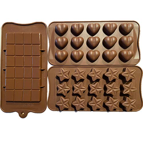 3 Pack of Chocolate Candy Molds – Heart Molds For Chocolate – Mini Chocolate Bar Mold – Candy Bar Molds – Candy & Chocolate Molds – Heart Candy Molds – Heart Shaped Silicone Mold – Star Silicone Mold