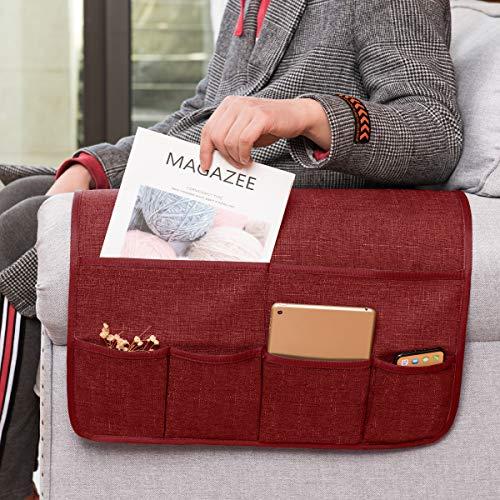 subrtex Sofa Armrest Organizer Couch Arm Chair Caddy TV Remote Control Magazines Holder Storage Organizer with 6 Pockets for Phone iPad (Wine)