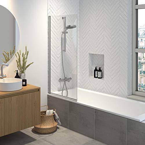Sealskin Hooked Badewannenaufsatz, Duschwand für Badewanne mit 6 mm Sicherheitsglas und Anti-Kalk-Beschichtung, Aluminium-Profil in Silber-verchromt, BxH: 75 x 140 cm