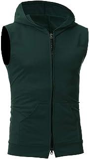 FSSE Mens Sports Summer Sleeveless Zipper Hoodie Pockets Tank Vest