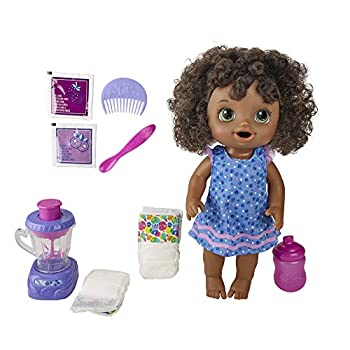 Baby Alive Magical Mixer Baby Doll Berry Shake with Blender Accessories Drinks Wets Eats Black Hair Toy for Kids Ages 3 and Up