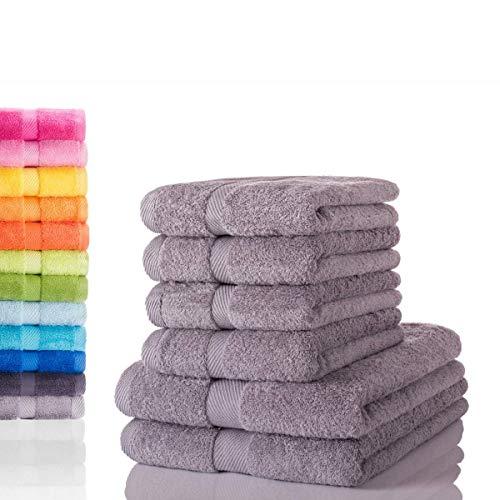 etérea Carli 6 TLG Handtuch Sparset 4X Handtücher, 2X Duschtücher - 100% Baumwolle und Oeko Tex Standard 100 - Qualitäts Frottierware 500 g/m² - Farbe: Steingrau