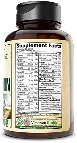 Men's Daily Multimineral Multivitamin Supplement. Vitamins A C E D B1 B2 B3 B5 B6 B12. Magnesium, Biotin, Spirulina, Zinc. Antioxidant Properties, Immune Health. 60 Capsules 6