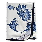 Sólo un joy - manta de picnic extra grande - pure algodón, con reverso impermeable, diseño de flores, color azul
