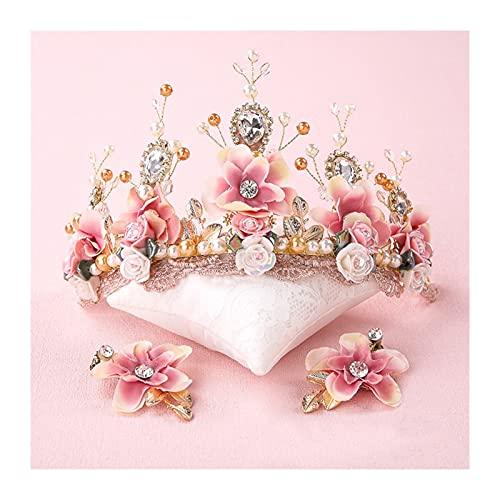 xingguang Tocado nupcial dulce novia rosa hecha a mano con cuentas de...