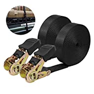 【Strong Ratchet Tie】The maximum safe load capacity is 1760 lbs (800 kg), and the 20 foot tie down strap can firmly fix the large and small cargo. 【High Quality Nylon Strap】The tie down straps are super soft as well as super tough. They are wear- resi...