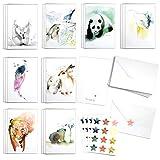 Blule Box mit 24 Grußkarten mit Tiermotiven, mit Umschlägen und Siegelaufklebern für alle Anlässe