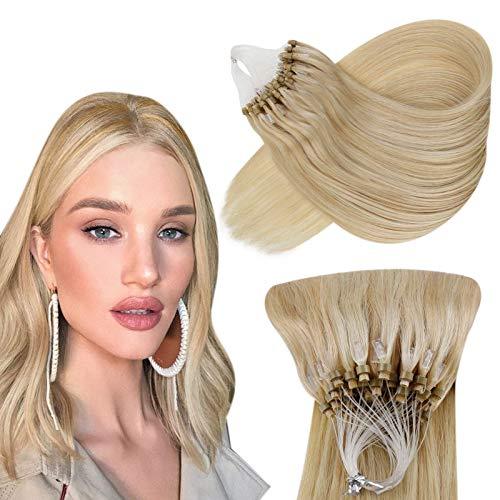 Hetto Cheveux Lisse Micro Anneaux Invisible Blond Doré Mixte Blond Moyen 20 Pouces Cheveux Naturel Micro Anneaux Extension Pose a Froid Droite Vrais Cheveux 50g par Paquet