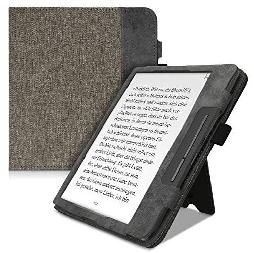 kwmobile Flip Hülle kompatibel mit Tolino Epos 2 - Handschlaufe - Cover Grau Schwarz