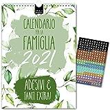 A4 Calendario per famiglie 2021 – FLOREALE | 5 Colonne | Planner da parete: 21x29,7cm | Extra: motivi floreali stilosi, 228 pratici adesivi, 15 mesi