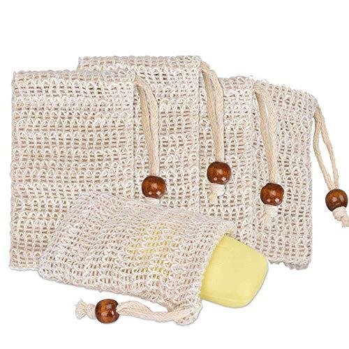 Bolsa De Jabón De Sisal (Paquete De 5) Ideal Para Sobres Y Ahorre Jabones, Bolsas De Fibra De Jabón Natural Para Espumar Y Secar El Jabón, Bolsa De Jabón Orgánico Con Bolsa Para Baño De Ducha