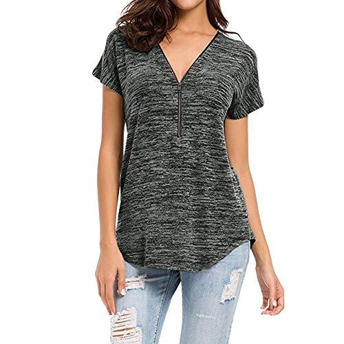 Camiseta de Manga Corta con Cuello en V Suelta con Cremallera de Color sólido de Verano para Mujer