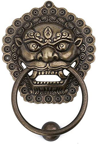 JJDSN Pure Copper Lion Mouth Door Knocker,Brass Retro Ring Pulls Handles,Chinese Style Lion Head Pull Handle With Knob Ring Bronze 19cm Home Decoration