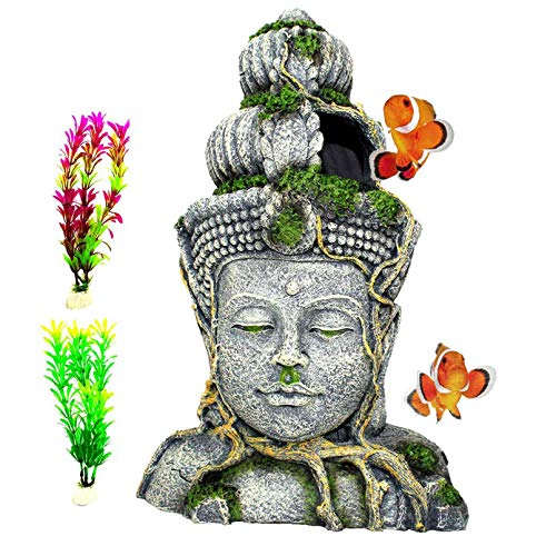 PINVNBY Aquarium Large Buddha Head Statue Decorations Fish Tank Resin Buddha Sculpture Ornament Hideout Betta Cave Sleep Rest Play for Small Fish,Shrimp, Lizard,Gecko and Small Reptile(3 Pack)