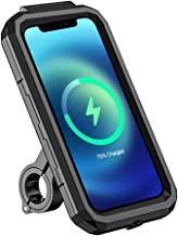 CALISTOUK Motorcycle Bike Cell Phone Holder with 15W Wireless Charger, Handlebar Rearview Mirror Waterproof Phone Mount with USB Charger Wireless for Mountain Road Dirty Bicycle