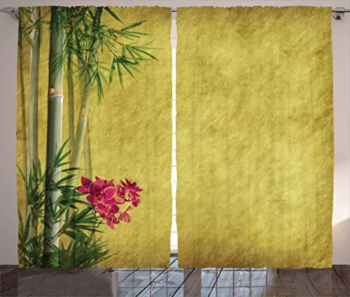 N / A Bambusvorhänge, Wilde Orchideen mit Bambusblättern auf altem antikem Papier Blumenkunst, Wohnzimmer Schlafzimmer Fenstervorhänge 2 Panel Set, gelb grün rosa