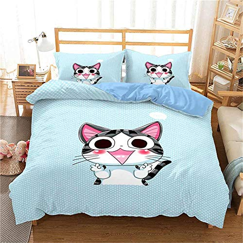 MENGBB 3D Cot Duvet Cover and Pillowcase Set Blue animal cat animation cute 260x220cm Total 4 Size, give away pillowcase, 3D Bedding Set - Quilt Cover with Zipper Closure + Pillowcases, Microfiber Duv