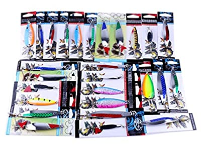 Jaminy Fishing Lures, Metal Spinner Baits Crankbait Assorted Fish Tackle Kits Bait Fishing Lures for Freshwater or Saltwater from Jaminy