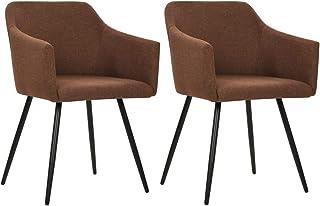 vidaXL 2X Sillas de Comedor Asiento Mobiliario Muebles de Salón Sala de Estar Cocina Hogar Escritorio Suave Cómodo Respaldo Tela Marrón
