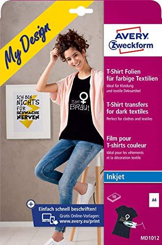 AVERY Zweckform 10 Textilfolien (für farbige Textilien, DIN A4, bedruckbare T-Shirt Folie zum Aufbügeln, Transferfolie für Inkjet-/Tintenstrahldrucker, Bügelfolie) MD1012