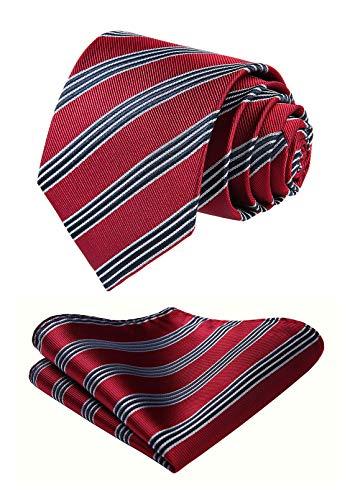 HISDERN Set fazzoletto da uomo classico rosso fazzoletto con cravatta bordeaux e fazzoletto da taschino
