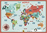 UNCLE WU Kids Learning World Map Placemats/Post Wall - 16 x...