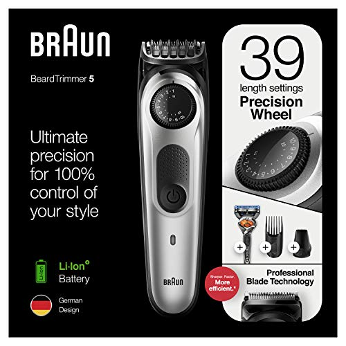 Braun Beard Trimmer for Men BT5260, Cordless & Rechargeable Hair Clipper, Detail Trimmer with Gillette ProGlide Razor, 39 length settings, 5min quick charge, 100 min runtime, Black/Silver Metal