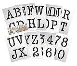Dovetails Vintage Plantillas del Alfabeto – 10 cm de Altura – Alphabet y Números 0-9, máquina de Escribir Typewriter Mayúsculas – en 9 Hojas de 295 x 290mm